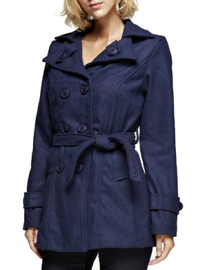 CLASSIC DOUBLE BREASTED PEA COAT WITH BELTS NEWJ910