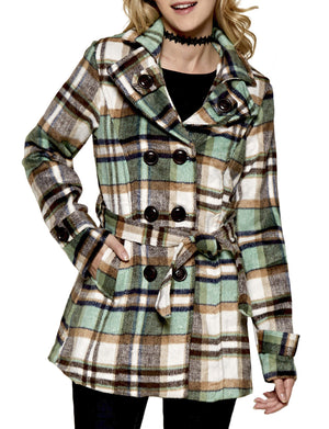 CLASSIC DOUBLE BREASTED PEA COAT WITH BELTS NEWJ911