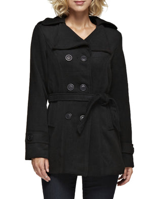 CLASSIC DOUBLE BREASTED PEA COAT WITH BELTS NEWJ913