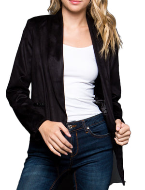 OPEN FRONT LIGHT WEIGHT DRAPED FAUX SUEDE WRAP JACKET NEWJ915