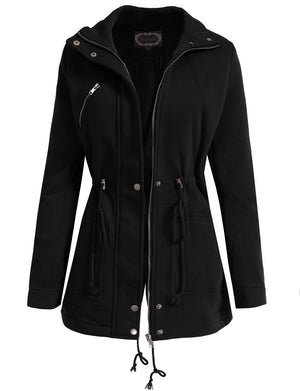 BASIC LIGHT WEIGHT JACKET WITH ZIPPER AND BUTTON CLOSURE NEWJ97