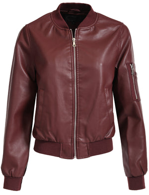 FITTED MIXED MEDIA FAUX LEATHER ZIP-UP MOTO JACKET WITH HOODIE NEWJ98