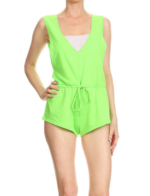 CASUAL LIGHT WEIGHT TERRY V-NECKLINE ATHLETIC ROMPER NEWJS05