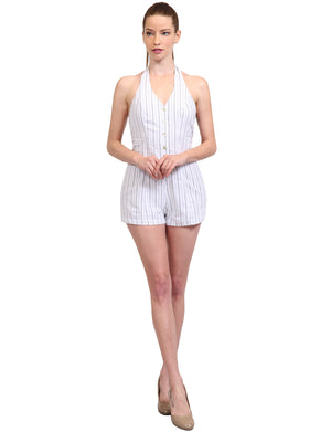 SEXY SCOOP/HALTER NECK STRIPED SHORTS SLEEVELESS ROMPER JUMPSUITS NEWJS09