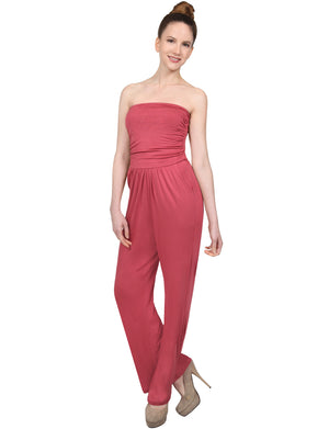 STRETCHY STRAPLESS TUBE TOP WIDE LONG LEG RAYON PANTS JUMPSUITS NEWJS13