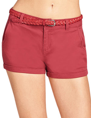 CASUAL HEM CUFFED WITH BUCKLED BELTS SHORTS PANTS NEWP101