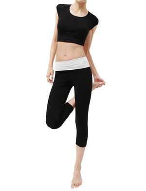 LIGHT WEIGHT SOLID STRETCH FOLD OVER WAIST CAPRI YOGA PANTS NEWP19