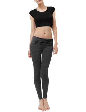 LIGHT WEIGHT SOLID STRETCH FOLD OVER WAIST LONG YOGA PANTS NEWP20