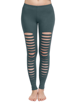 CASUAL ELASTIC LADDER CUT OUT COTTON JERSEY LEGGINGS NEWP23