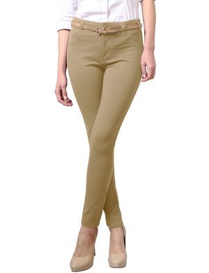 WOMEN'S COMFORABLE STRETCHY SLIM FIT SKINNY PANTS WITH BELT NEWP33