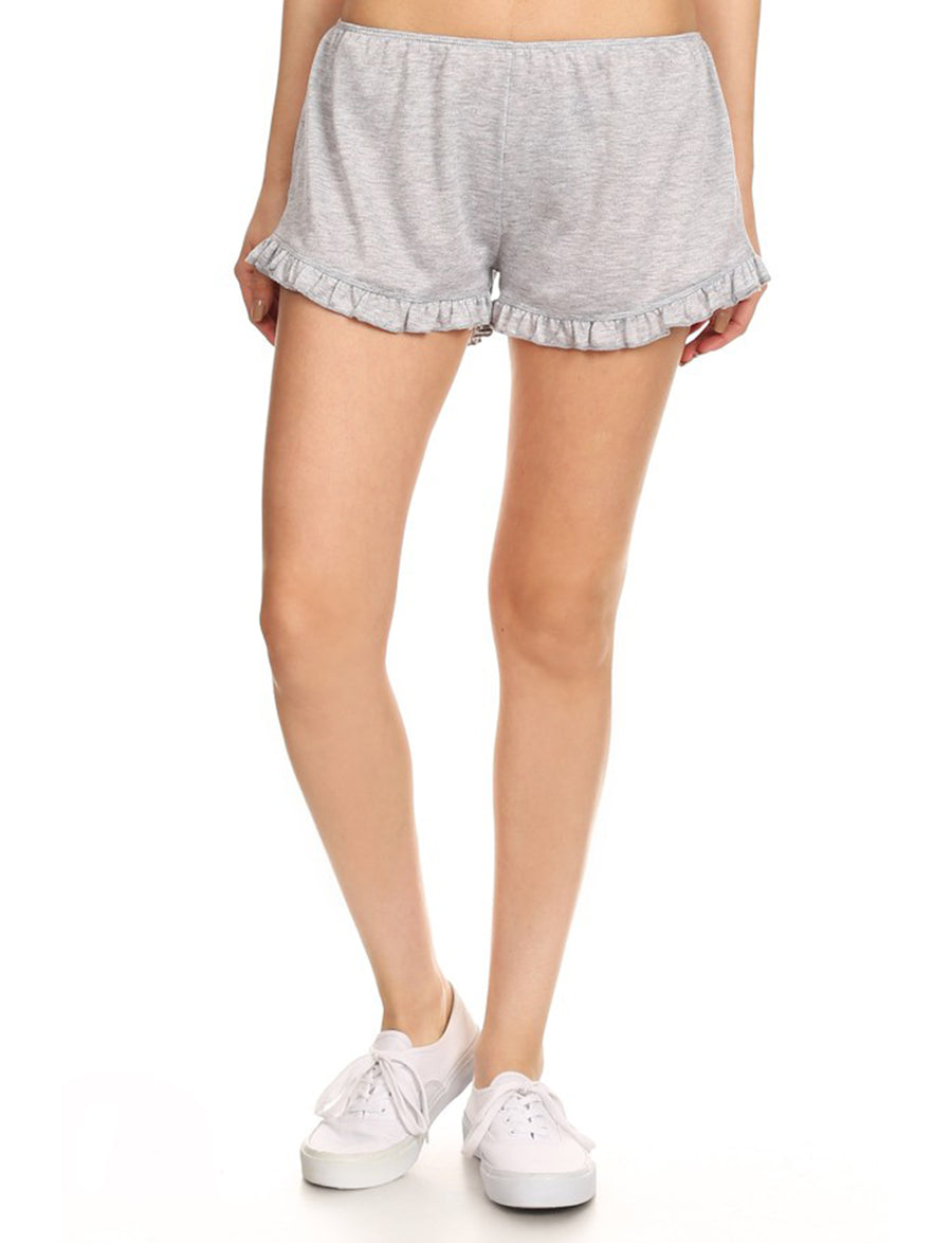 LIGHT WEIGHT TERRY TRACK SHORTS WITH RUFFLED HEM NEWP35