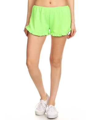 LIGHT WEIGHT TERRY TRACK SHORTS WITH RUFFLED HEM NEWP35 PLUS