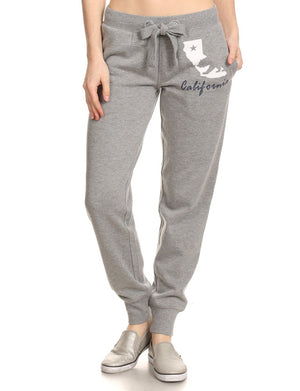CASUAL WIDE-STRING CALIFORNIA FLEECE JOGGING PANTS NEWP37 PLUS