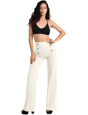 MYKA MEIER LIMITED EDITION COLLECTION - Womens High Waist Sailor Bell Bottom Long Pants