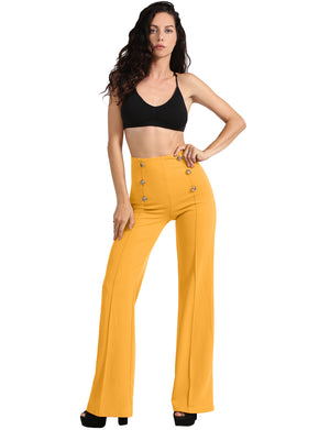 HIGH WAIST SAILOR BELL BOTTOM LONG PANTS NEWP44 PLUS