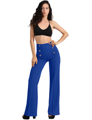 Womens High Waist Sailor Bell Bottom Long Pants