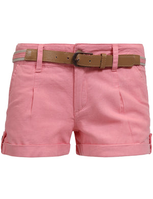 MID RISE FITTED CUFFED HEM CASUAL SHORTS W/BELT NEWP57