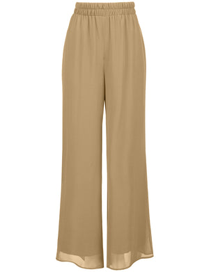 PLUS WIDE LEG PALAZZO/CHIFFON CASUAL PANTS NEWP91