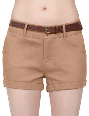 CASUAL HEM CUFFED WITH BUCKLED BELTS SHORTS PANTS NEWP93