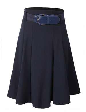OFFICE HIGH WAISTED FLARE PLEATED KNEE A-LINE SKIRT WITH BELT NEWSK01