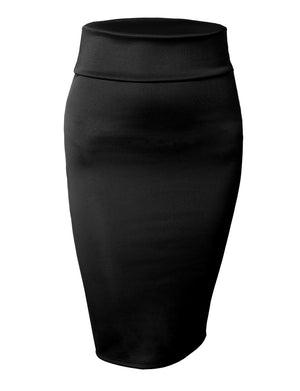 STRETCH BODYCON MIDI OFFICE PENCIL SKIRT NEWSK10