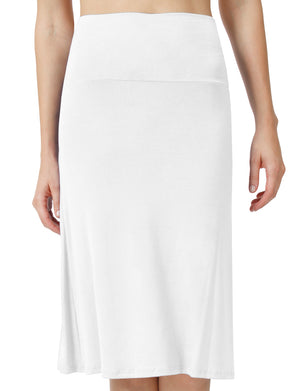 SOLID LIGHT WEIGHT MID LENGTH FLAWHITE MAXI SKIRT NEWSK15