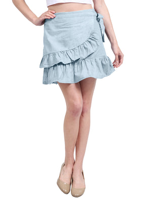 CASUAL SWING RUFFLE FRILL HIGH WAIST MINI SKIRTS NEWSK18