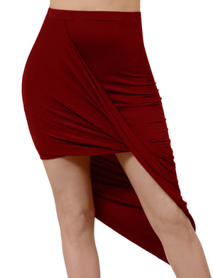 HIGH WAIST DRAPED ABOVE KNEE LOW STRETCH SKIRT NEWSK22