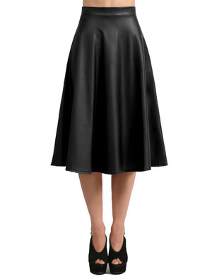ELASTIC LEATHER MIDI SKIRT NEWSK33