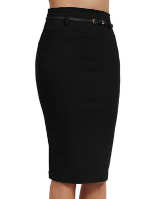 BASIC SOLID KNEE LENGTH WORK OFFICE PENCIL SKIRTS WITH BELT NEWSK35 PLUS