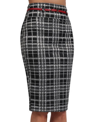 BASIC SOLID KNEE LENGTH WORK OFFICE PENCIL SKIRTS WITH BELT NEWSK37 PLUS