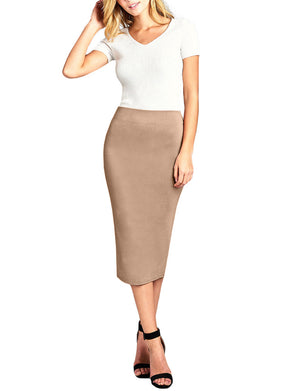 HIGH WAIST STRETCHY BODYCON PONTE NYLON RAYON MIDI SKIRTS NEWSK39