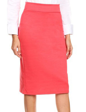 BASIC ELASTIC WAIST MIDI KNEE LENGTH STRETCHY PONTE PENCIL SKIRTS NEWSK40