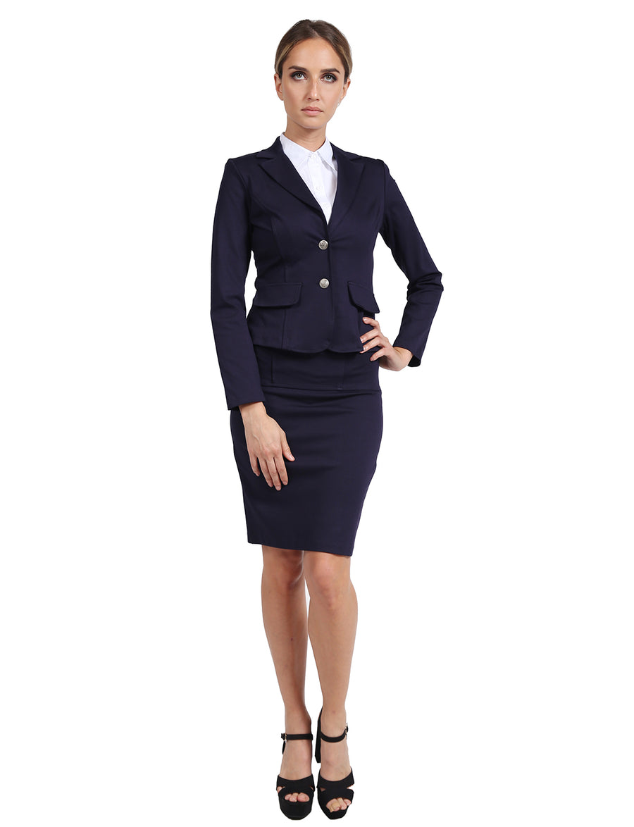 FORMAL OFFICE BUSINESS WORK BLAZER AND SKIRT SUIT SET NEWSS14