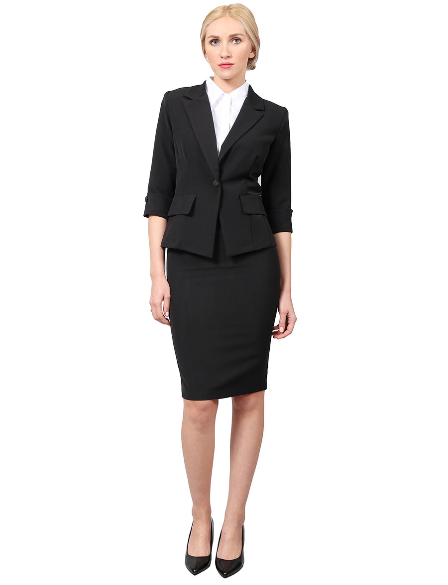 WOMEN'S CLASSY 3/4 SLEEVE BLAZER AND SKIRT OFFICE SUIT SET NEWSS21