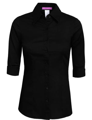 ROLL UP 3/4 SLEEVE BUTTON DOWN SHIRTS WITH STRETCH NEWT05 PLUS