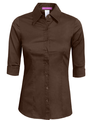 BASIC TAILORED 3/4 SLEEVE BUTTON DOWN SHIRTS NEWT05