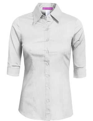 TAILORED 3/4 SLEEVE BUTTON DOWN SHIRTSMALL NEWT05