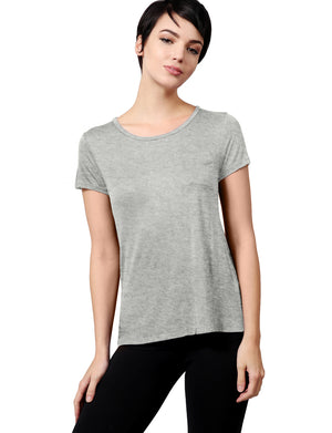 Womens Plain Lightweight Round Neck Scoop Neck T Shirt with Front Chest Pocket