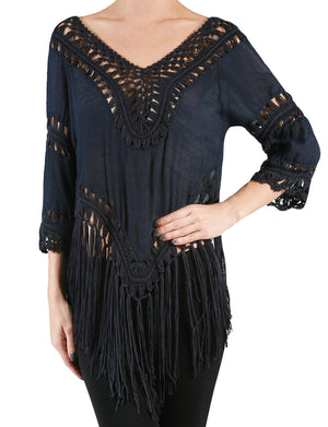LIGHT WEIGHT BASIC V-NECK 3/4 SLEEVE FRINGE CROCHET FRAYED TUNIC TOP NEWT104