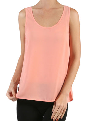 LIGHT WEIGHT BASIC SCOOP NECK SLEEVELESS CHIFFON DOBBY CAMI TOP NEWT105