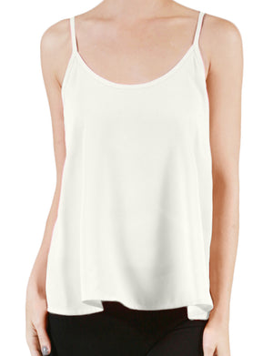 BASIC LIGHT WEIGHT SLEEVELESS DOUBLE SCOOP NECK FLOWT CAMI TOP NEWT123