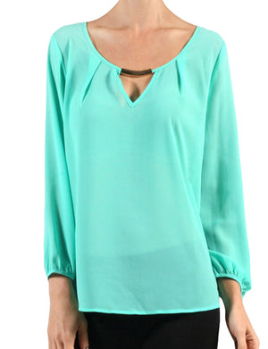 LIGHT WEIGHT 3/4 SLEEVE ROUND NECK TOP WITH METAL NECK NEWT143