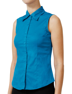 TAILORED SLEEVELESS BUTTON DOWN SHIRTS NEWT15