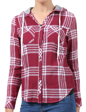 LIGHT WEIGHT LONG SLEEVE PLAID CHECK BUTTON DOWN SHIRTS WITH HOOD NEWT153