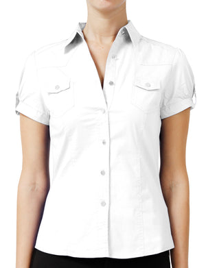 WOMEN SHORT SLEEVE WESTERN BUTTON DOWN SHIRTS NEWT16 PLUS