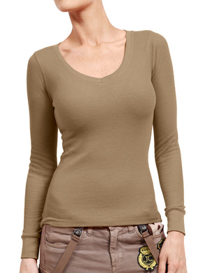 LIGHT WEIGHT BASIC LONG CUFF SLEEVE V-NECK THERMAL T-SHIRTS NEWT177