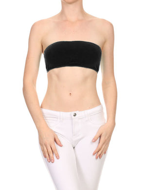 WOMEN'S SOLID STRAPLESS BANDEAU FITTED NEWT188 PLUS