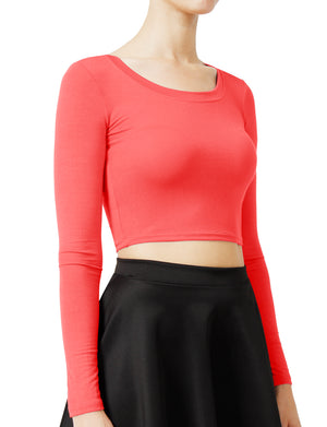 SOLID LONG SLEEVE SCOOP NECK CROP TOP NEWT19