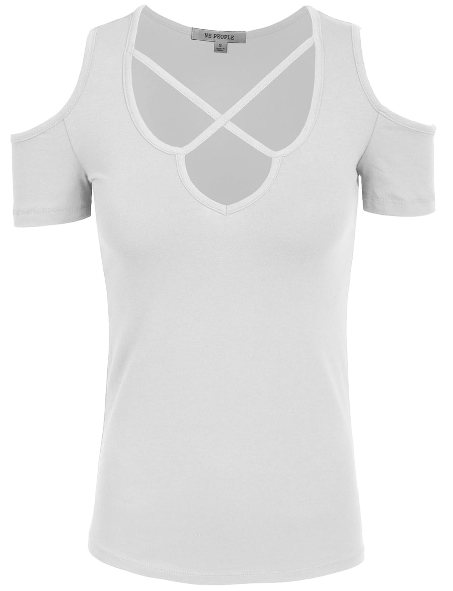 BASIC CROSS FRONT DEEP V-NECK LINE SHORT SLEEVE T-SHIRTS NEWT196